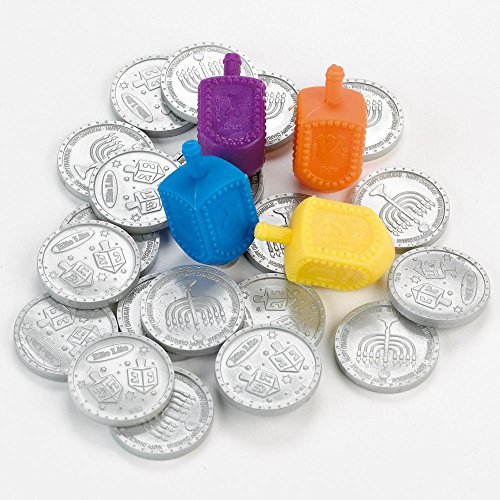Pack of 20 Yellow and Silver Hanukkah Dreidel Game Set with Coins 5.50'