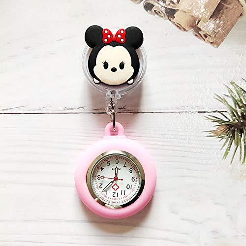 Reloj de Bolsillo con Broche de Solapa,Reloj de Bolsillo para Doctor, Reloj de Enfermera retráctil-Moe Minnie,Reloj Silicona Enfermera
