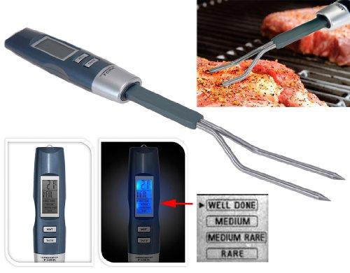 matrasa Grillgabel mit integriertem Fleischthermometer 34cm - Fleischwender Kerntemperatur Thermometer - Grillthermometer