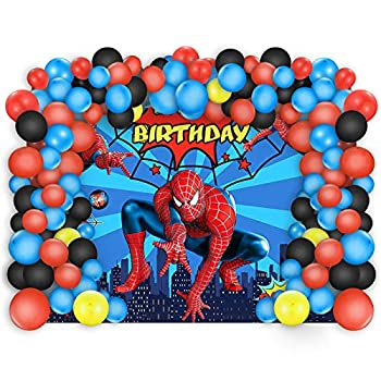 Spiderman Birthday Party Decorations 5 x 3 Ft Backdrop Banner Photography Background and 80 Pcs Latex Balloons Kit Superhero Theme Party Supplies for Indoor Outdoor Living Room Yard