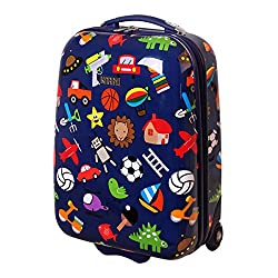 Karry Kids Suitcase Travel Trolley Hard Cases Hand luggage guys LED skater wheels