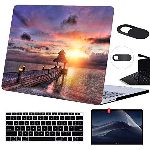 Funut Case for Older Version MacBook Pro Retina 13 inch (Model: A1502 & A1425),Plastic Case Screen Protector Keyboard Cover Webcam Cover,Protective Laptop Hard Shell,01 Wooden Bridge