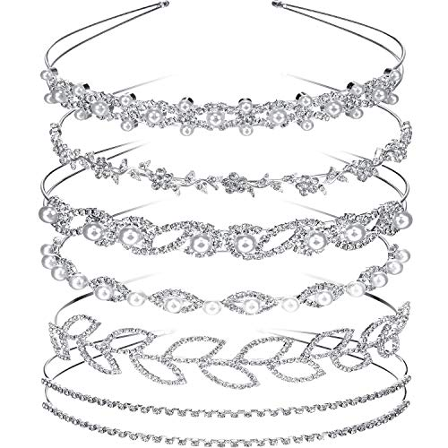 Tatuo 6 Pieces Bride Bridesmaids Crystal Flower and Leaves Crown Headband and Women's Girl's Faux Pearl Rhinestones Headdress for Wedding Party (Style 1) Silver