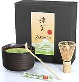 Aricola, Set di 3pezzi per tè matcha, composto da ciotola, cucchiaio e frullino di bambù in confezione regalo, colore verde, turchese, viola- verde