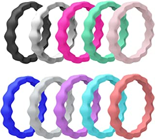 HLTPRO Silicone Wedding Rings for Women – 10 Pack/1 Pack Braided Thin StackableRubber Bands – 2mm Thick
