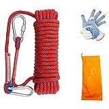 10 m Cuerda de escalada en roca, 10 mm de grosor, escalada, equipo de escalada, equipo de supervivencia al aire libre, escape de incendios, cuerda de seguridad con guante y dos mosquetones
