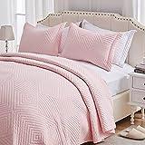 SunStyle Home Quilt Set 2 Pieces Twin Quilt Set Light Pink Soft Microfiber Bedspreads Lightweight Coverlet Reversible Comforter Set Bed Cover for All Season(1 Quilt 1 Sham)