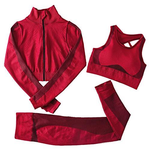 Jamron Femmes Ensemble de Vêtements de Yoga Veste+Soutien-Gorge+Leggings 3PCS Survêtement Gym Fitness Activewear Bourgogne M