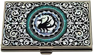 Antique Alive Mother of Pearl Black Three Legged Crow Design Business Credit Card Holder Wallet (B103)