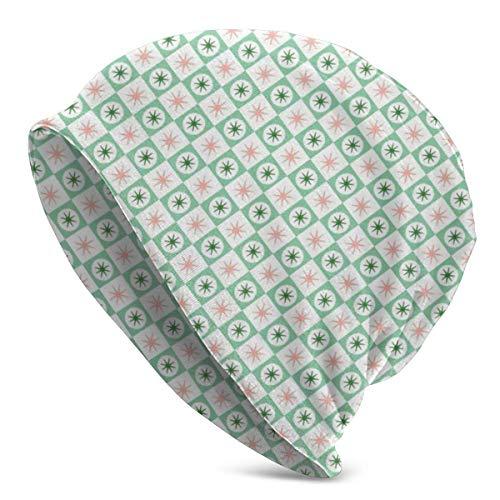 Lawenp Spiffy (Sellos Verdes) Mid-Century Modern Atomic Stars Starburst Checkerboard Checkerboard Gorro de Invierno geométrico Gorro de esquí de Punto cálido Gorro Holgado Elástico Suave Durable