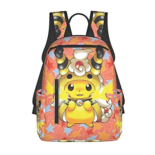 Mochila escolar para niños/niñas y adolescentes, divertida impresión 3d Poke_Mo_N de moda ligera senderismo portátil mochila, Black3, Talla única