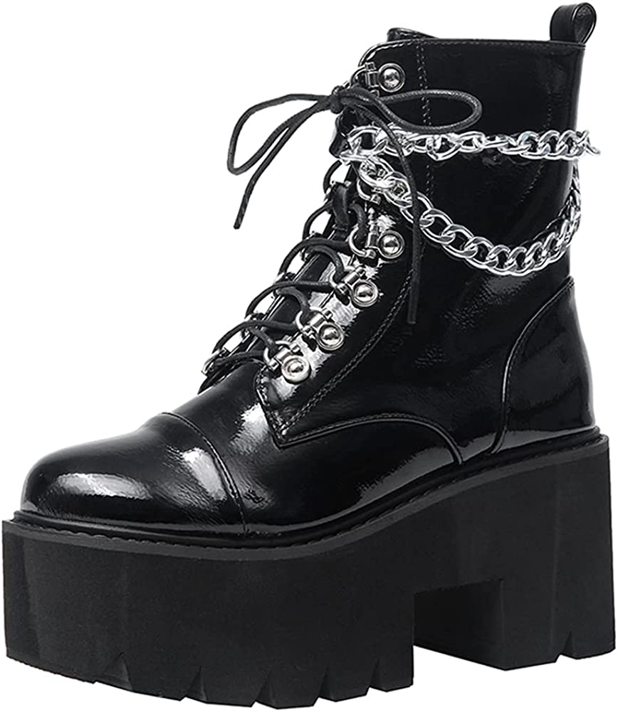 SO SIMPOK Women's Lace up Chain Punk Block Heel Platform Combat Ankle Booties Sexy Motorcycle Mid Calf Boots