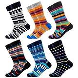 Calcetines de Algodón Peinado para Hombre, Calcetines Estampados Hombre, Hombres Ocasionales Calcetines Divertidos Impresos de Algodón, Calcetines de Moda de Negocios (39-46, 6 Pares-Colorful Stripe)