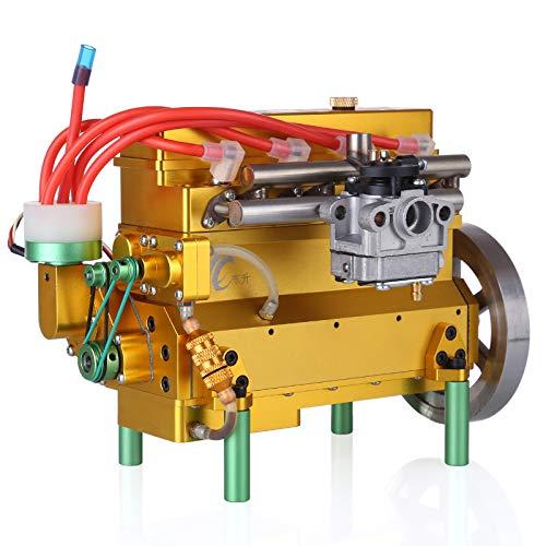 MAJOZ Juego de construcción de motor, motor de combustión de 4 cilindros de gasolina de 32 cc refrigerado por agua, para coche radiocontrol, barco o avión