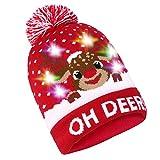 Sombrero de Navidad LED Sombrero Light Up Beanie Gorro de lana 6 Sombrero de Navidad LED de Colores,Pulchram Sombrero de Nieve de Invierno Unisex Sombrero Suéter de Fiesta Navidad con 2 Baterías (Red)