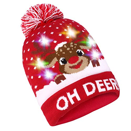 Sombrero de Navidad LED Sombrero Light Up Beanie Gorro de lana 6...