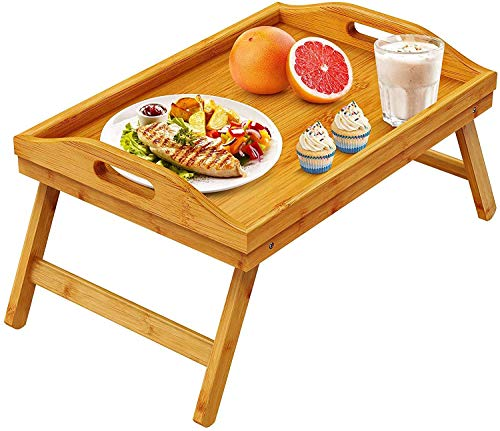 Pipishell Bamboo Bed Tray Table Breakfast Serving Tray with Foldable Legs for Sofa, Bed, Food Eating, Working, Used As Laptop Desk Snack Tray