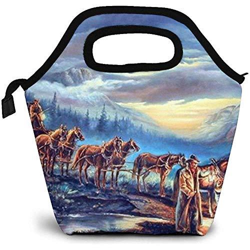 Stagecoach Cavalli (scena notturna) Pranzo al sacco Pranzo al sacco isolato Borse per uomo Donna Infermiere