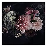 [page_title]-Vlies Fototapete Blumen mit Nebel auf Schwarz Vliestapete, 240cm x 240cm