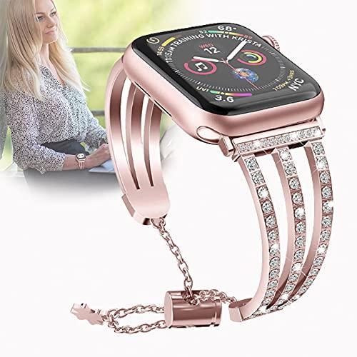 Correa Compatible para Apple Watch SE Series 6/5/4/3/2/1 38 mm 40 mm 42 mm 44 mm, Juego de Diamantes, Acero Inoxidable, Metal, Banda de Pulido única,42mm/44mm