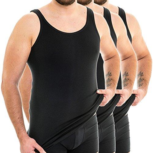 HERMKO 3007 3er Pack extralanges Herren Unterhemd (+10 cm) Tank Top aus 100% Baumwolle, Farbe:schwarz, Größe:D 5 = EU M