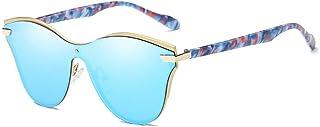 Fashion Retro Curved Large Frame Glasses Unisex UV400 Protection Gold Frame Pattern Glasses Legs New Fashion Conjoined Polarized Sunglasses Retro (Color : Blue)
