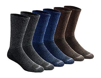 Dickies Men's Dri-tech Moisture Control Crew Socks Multipack, Grey/Blue/Brown (6 Pairs), Shoe Size: 6-12