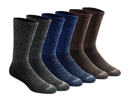 Dickies Men's Dri-tech Moisture Control Crew Socks Multipack, Grey/Blue/Brown (6 Pairs), Shoe Size: 6-12