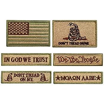 Bundle 6 Pieces Tactical Military Patch Set  Tan