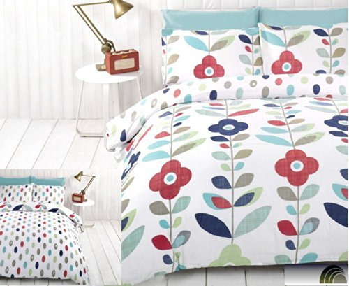 Lulu Floral Double Reversible Duvet Cover and Pillowcase Set by Rapport
