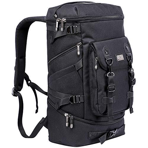WITZMAN Travel Backpack For Men Hiking Nylon Rucksack Water Resistant Laptop Backpack Mens Casual Knapsack (Nylon Black)