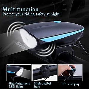 AcTopp Timbre para Bicicleta+LED Faro Delantero/Foco Frontal de Ciclismo/Luz Delantera de Bici 250Lm CREE 3 Modos de Luz Batería Recargable (Cable USB Incluído) Alto DB Ciclismo Color Negro+Azul/Verde