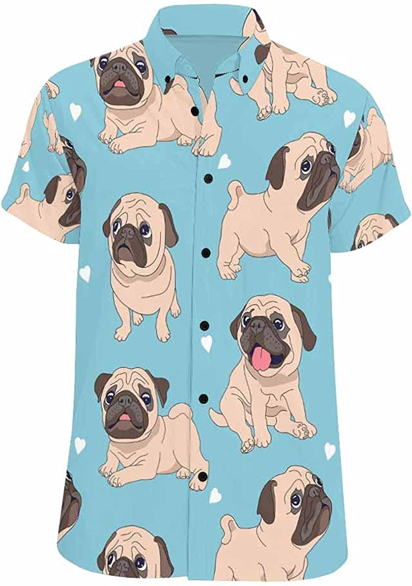 InterestPrint Funny Cartoon Lion Men's Looser Fit Short Sleeve All Over Printed Button Shirt