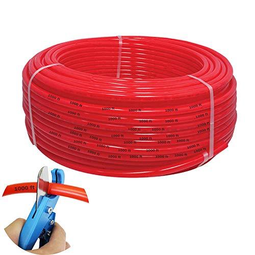 1/2 Inch Oxygen PEX Tubing 1000 Feet Flexible Pipe - Radiant Hydronic Heating Piping O2 Water Barrier PEX-B Polyethylene Plastic Tubes - Radiator Heat Transfer Floors Baseboards Driveways Free Cutter