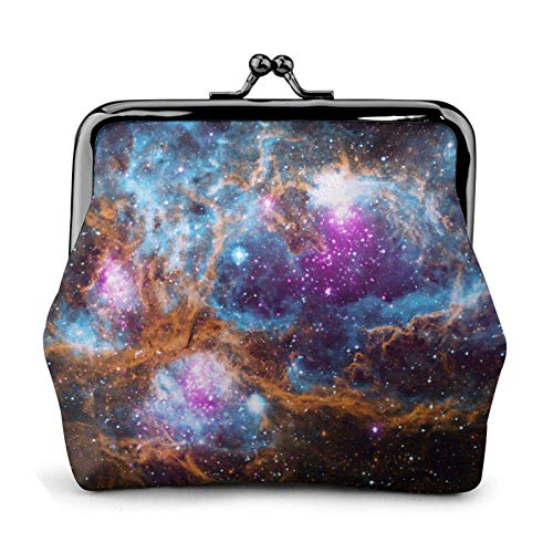 Universe Galaxy Se Coin Purse Wallet Buckle Kiss-Lock Small Leather Change Pouch Gift for Women