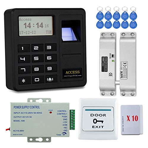 YAVIS Tür Eintrag Access Control System Kit Set Biometrische Fingerabdruck-Controller-Tastatur Codeschloss Türöffner 125 kHz + Electric Drop Bolt Lock + Netzteil + Exit-Taste + 20 Stück ID-Karten