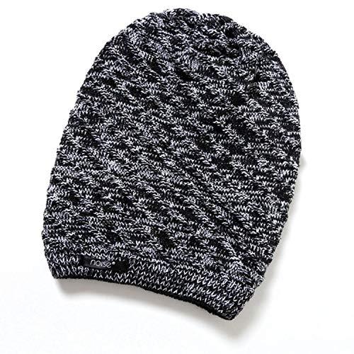 Herbstmütze für Damen und Herren, warm, gestrickt, wendbar, Totenkopf-Mütze - schwarz - Einheitsgröße