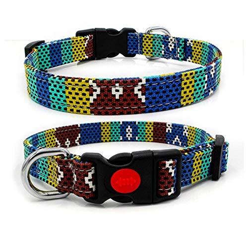 GOUSHENG hondenhalsband voor huisdieren, bohemian-stijl, verstelbaar, nylon, ademend, veiligheidsgesp, kleurrijk, kattenhalsband, A, S