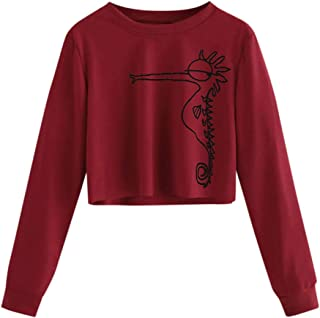 VEMOW Sudadera Mujer Manga Larga Causal Sueltas Cuello Redondo Impreso Camisa de Entrenamiento Pullover Tops Blusa OtoñO I...