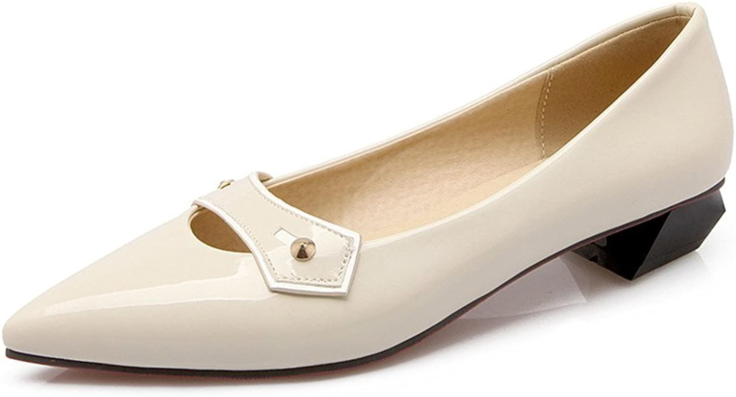 Lucksender Womens Pointed Toe Patent Leather Low Heel Dress shoes