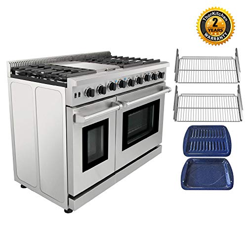 Thor Kitchen Pro-Style LRG4801U 48 inch Gas Range with 6 Burners and Double Ovens, Stainless Steel, LRG4801U
