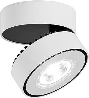 LANBOS 12W Lámpara de techo LED,Foco LED para techo y pared, Focos para el techo,Lámpara de pared,Luz de techo led,Plafón con Focos,luz blanco frío, 6000K,IP20, aluminio, 10X6CM (blanco+blanco frío)