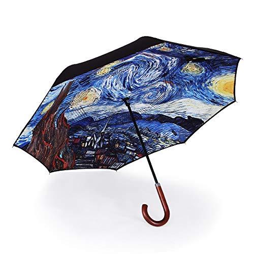 TXOZ Regenschirme Inverted Umbrella Double Layer UV-Schutz Einzigartige windundurchlässige Regenschirm umge Offen Folding Große Gerade Umbrella Big Stockschirm for Auto Regen im Freien Van Gogh Sterne