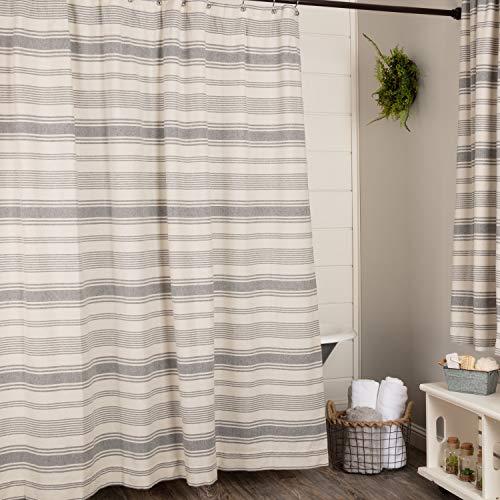 "Piper Classics Farm Market Shower Curtain, 72"" x 72"" Urban Rustic Farmhouse Style Bathroom Curtain w/ Gray and Natural Cream Stripes"