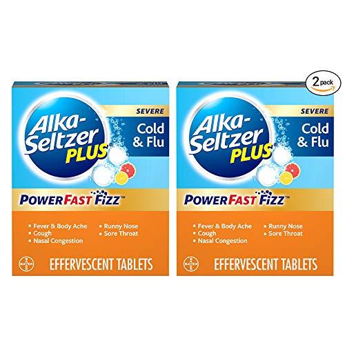 Alka-Seltzer Plus Severe Cold & Flu Powerfast Fizz Citrus Effervescent Tablets Twinpack, 2x20ct, 40 Count