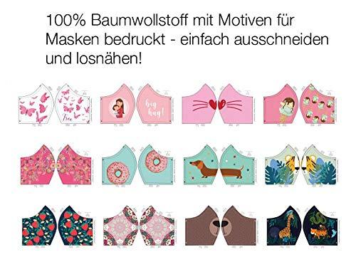 Baumwollstoff, Panel mit 12 aufgedruckten Motiven zum Nähen von Behelfsmasken/Masken, Gr. S/M - Dackel, 60 cm