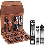 Kit de manicura, 16 en 1, juego de cortauñas negro para el cuidado de uñas de los pies, pedicura manicura Set con estuche de cuero marrón