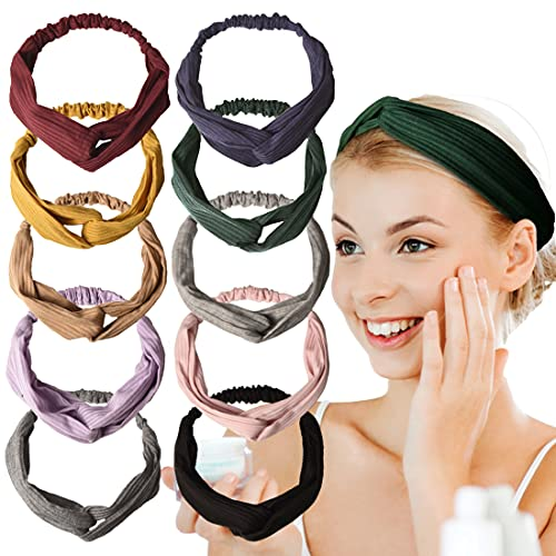 10 PCS Women's Headbands, Headbands for Women Knotted Boho Stretchy Hair Bands, Lightweight Elastic Exercise Headband for Women (color A)