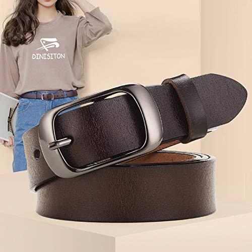 Cinturón de piel auténtica para mujer para correa de mujer, estilo informal, para todo partido, cinturones ajustables, marca de diseñador (longitud del cinturón: 100 cm, color: negro)