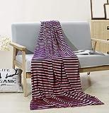 PuTian Australian Ultrasoft Merino Wool Blanket Silky Throw for Summer Lightweight Pink Stripes 62by80 inch